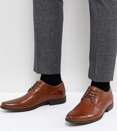 Светло-коричневые дерби на шнуровке для широкой стопы из искусственной кожи ASOS - Рыжий