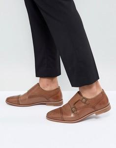 Светло-коричневые кожаные монки с натуральной подошвой ASOS - Рыжий