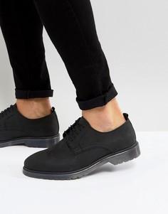 Черные кожаные дерби на шнуровке с подошвой в рубчик ASOS - Черный
