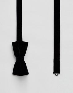 Бархатный галстук-бабочка Noose & Monkey - Темно-синий