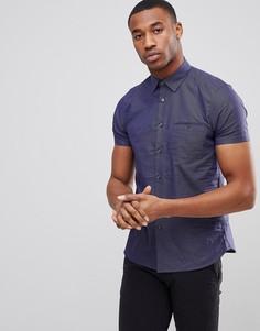 Приталенная рубашка с короткими рукавами и принтом Ted Baker - Темно-синий