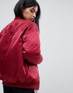 Бордовый бомбер с логотипом на спине adidas - Красный