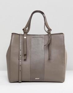 9d1cc7b98a56 Кожаная сумка на плечо с отделкой Paul Costelloe - Коричневый