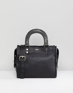 Черная кожаная сумка на плечо со змеиным принтом на ручках Paul Costelloe - Черный