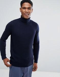 Джемпер крупной вязки с отворачивающимся воротником Threadbare - Темно-синий