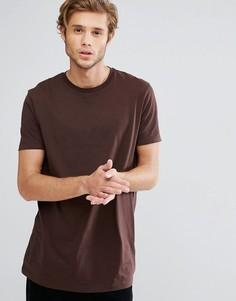 Длинная коричневая футболка с круглым вырезом ASOS - Коричневый 0be999f5b4e