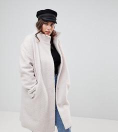 Оверсайз-пальто с высоким воротником ASOS CURVE - Кремовый