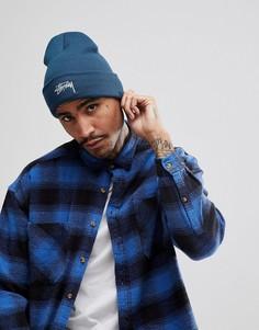Синяя классическая шапка-бини с логотипом Stussy - Синий