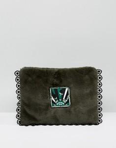 Клатч из искусственного меха Anna Sui - Зеленый