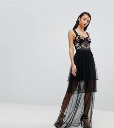 Платье макси для выпускного с вышивкой ASOS TALL - Черный