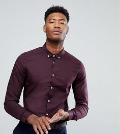 Бордовая рубашка скинни с воротником на пуговицах ASOS TALL - Красный