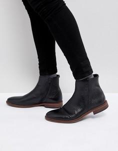 Черные кожаные ботинки челси с молниями ASOS - Черный