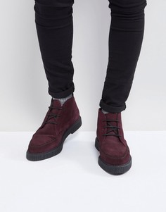 Бордовые замшевые ботинки-криперы на шнуровке ASOS - Красный