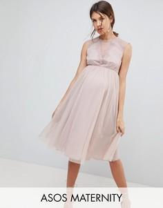 Сетчатое платье миди с кружевной отделкой ASOS Maternity - Розовый
