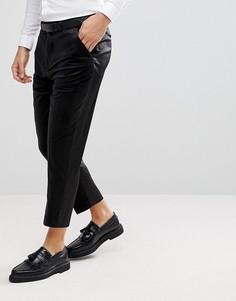 Черные суженные книзу строгие брюки из бархата и атласа ASOS - Черный