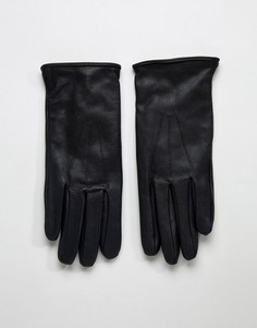 Черные кожаные перчатки Paul Costelloe - Черный