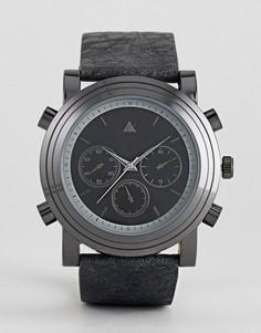 Большие часы с черным ремешком ASOS - Черный