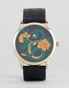 Часы с черным ремешком, золотистой отделкой и узором змеи ASOS - Черный
