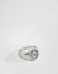 Серебристое кольцо-печатка с гравировкой ASOS - Серебряный