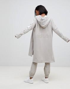 Длинный худи бежевого цвета на молнии Adidas Originals Adibreak - Коричневый