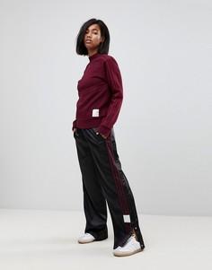 Черные атласные брюки с широкими штанинами и кнопками аdidas Originals Adibreak - Черный Adidas