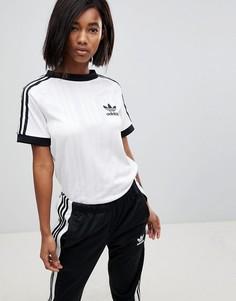 Белая футболка с тремя фирменными полосками adidas Originals - Белый