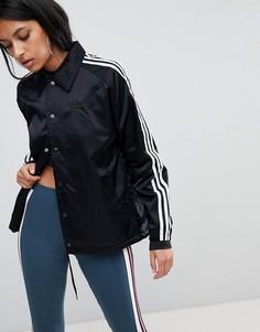 Черная ветровка с тремя полосками Adidas Originals - Черный