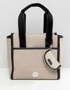 Парусиновая сумка-тоут Calvin Klein - Коричневый