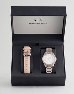 Часы со сменным кожаным ремешком в подарочном наборе Armani Exchange AX7103 - Белый