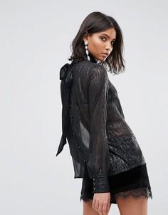 Прозрачная блузка с высоким воротом и пуговицами на спине Soaked In Luxury - Черный