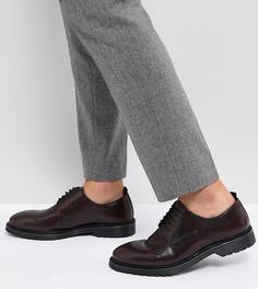 Бордовые кожаные дерби со шнуровкой и рифленой подошвой ASOS - Красный