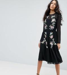Платье миди с вышивкой ASOS TALL PREMIUM - Черный