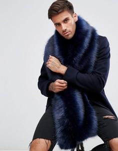 Темно-синий шарф из искусственного меха ASOS - Темно-синий