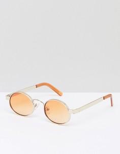 Овальные солнцезащитные очки с оранжевыми стеклами ASOS - Золотой