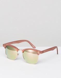 Солнцезащитные очки в розовой оправе с зеркальными стеклами цвета розового золота ASOS - Розовый