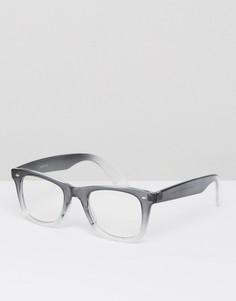 Квадратные очки с серой оправой и прозрачными стеклами ASOS - Серый