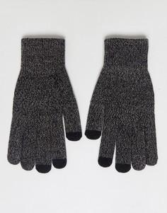 Черно-серые перчатки для сенсорных гаджетов ASOS - Черный