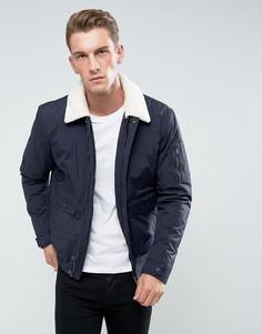 Короткая куртка с воротником из искусственного меха Celio - Темно-синий