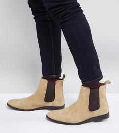 Бежевые замшевые ботинки челси для широкой стопы ASOS - Светло-бежевый