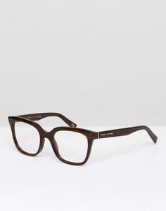 Квадратные очки в черной оправе с прозрачными стеклами Marc Jacobs - Черный