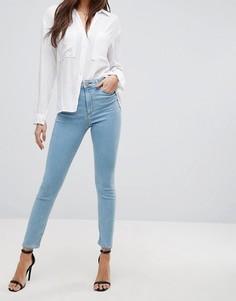 Выбеленные джинсы скинни с завышенной талией ASOS RIDLEY - Синий