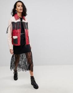 Кожаная куртка с бахромой ASOS - Мульти