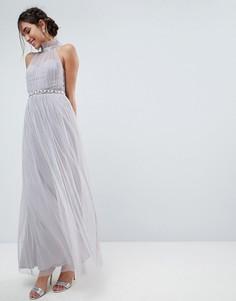 Платье макси из тюля с высоким воротом и отделкой на талии ASOS - Серый