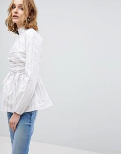 Блузка в полоску с высоким воротом и завязкой Lost Ink - Белый