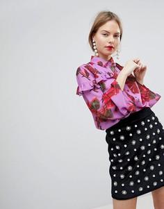 Блузка с оборками и цветочным принтом Lost Ink - Мульти