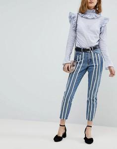 Зауженные джинсы в винтажном стиле Lost Ink - Синий