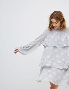 Прозрачное ярусное свободное платье в горошек Lost Ink - Серый