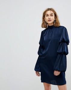 Платье с высоким воротом и ярусными рукавами Lost Ink - Темно-синий