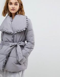 Дутое пальто с запахом Lost Ink - Серый