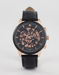 Часы с имитацией открытого механизма (черный/золотистый) ASOS - Черный